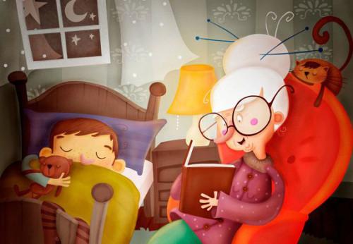 storie della buonanotte-nonna e bimbo