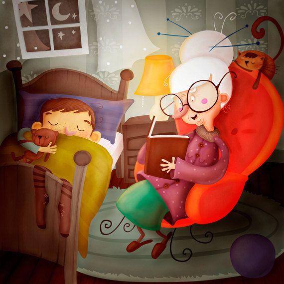 nelle storie della buonanotte per bambini una nonna legge al nipote