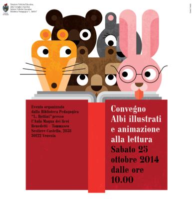 Locandina del convegno Albi illustrati e animazione alla lettura