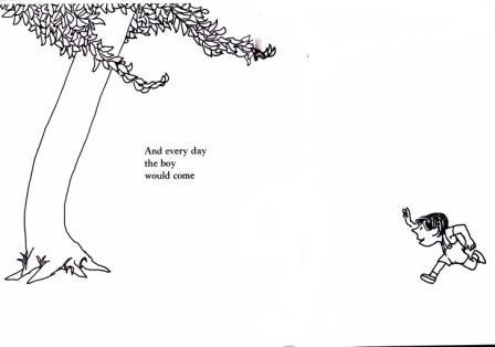 Il bambino corre incontro all'albero