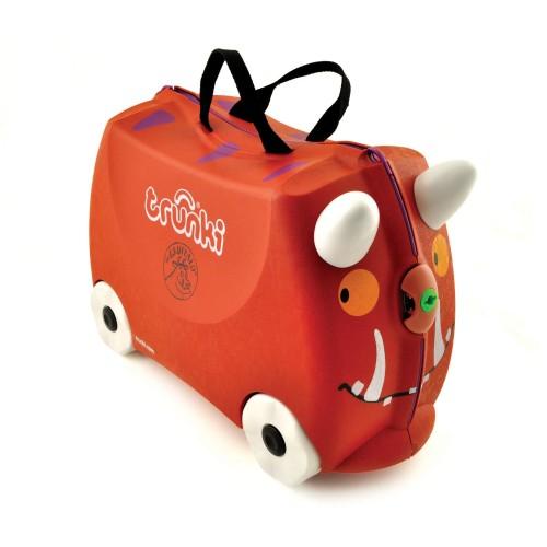 una valigia arancione a forma di Gruffalo