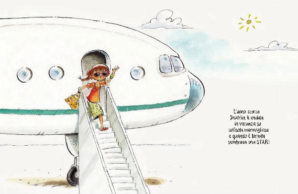 Beatrice scende dall'aereo