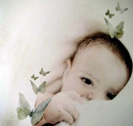 Il bambino illustrato in Canti dell'attesa