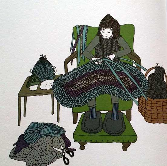 Stina lavora a maglia