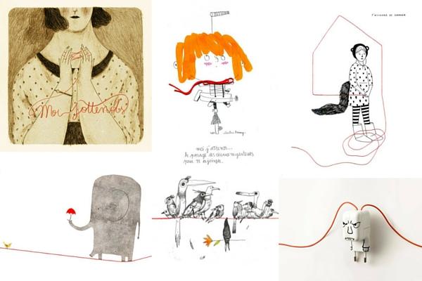 Da sinistra: illustrazioni di Monica Barengo, Christine Roussey, Audrej Calleja, Alice Lotti, Federico Appel, Gilbert Legrand