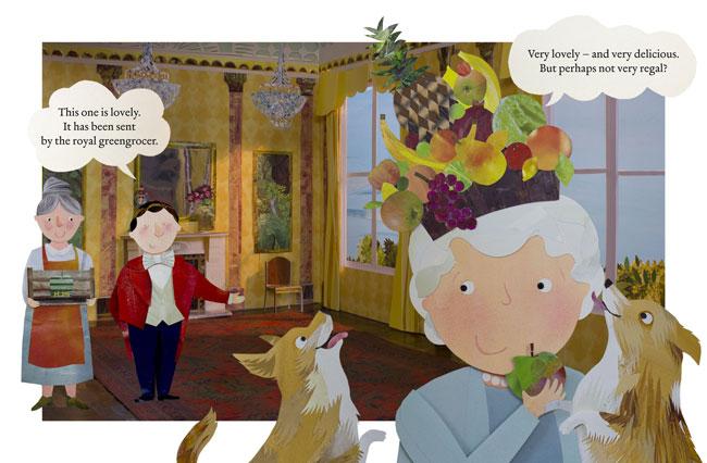 la regina prova una corona di frutta