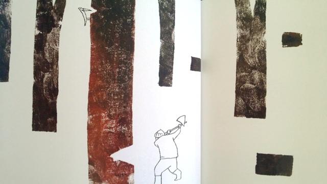il tagliaboschi abbatte alberi