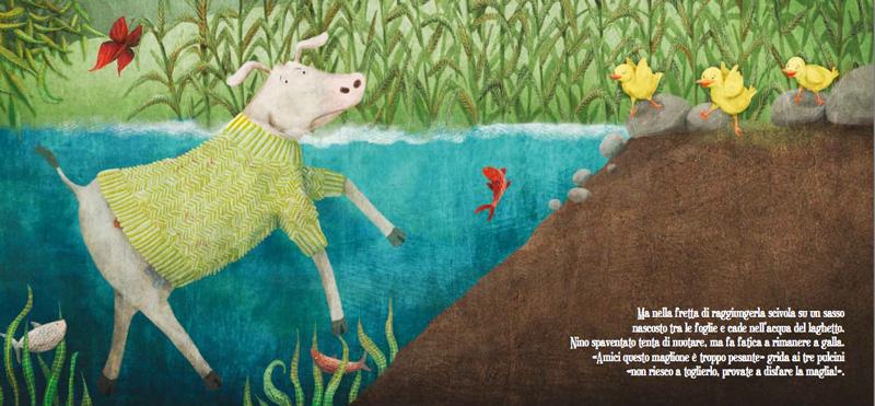 Nino giallo pulcino - caduta nel lago