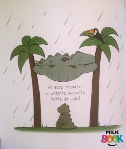 il papà lo protegge dalla pioggia