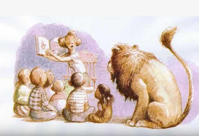 il leone ascolta le storie