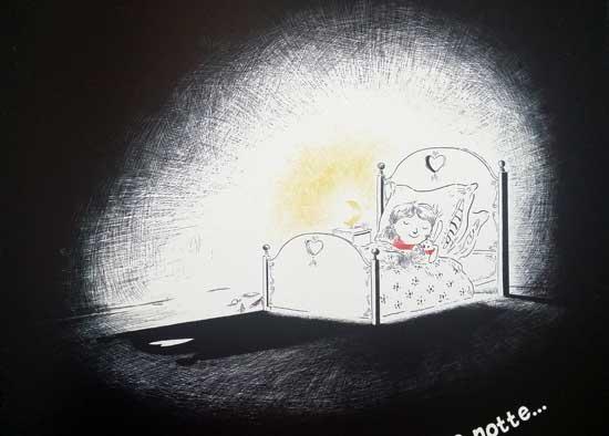 nina e la lucina vicino al letto