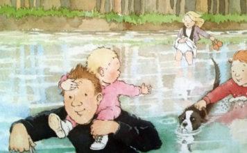 i bambini guadano il fiume