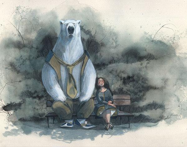 L'orso e la bambina sulla panchina