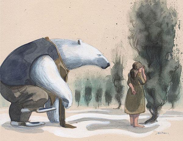 L'orso e la bambina giocano a nascondino