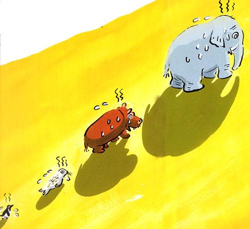 gli animali alla ricerca dell'ombra