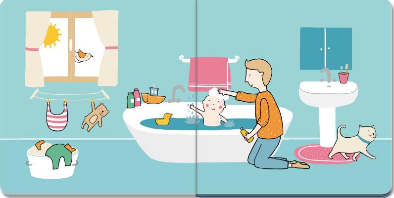 il papà lava il bambino