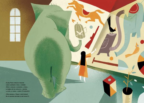 Nadia e l'elefante leggono insieme