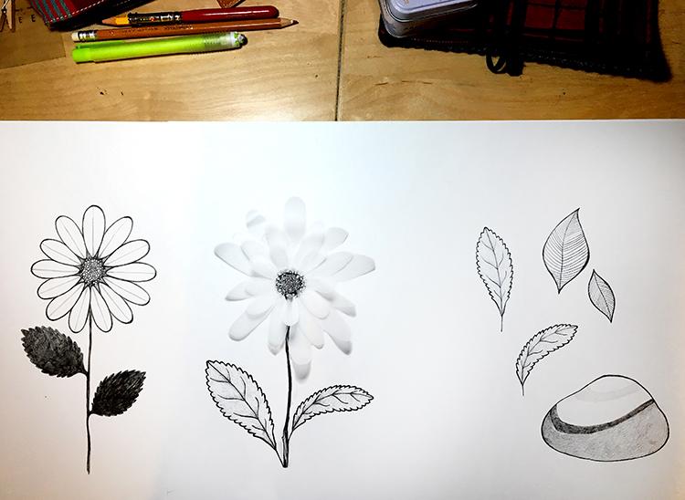 Il fiore - disegni preparatori de Il viaggio di un Piedino