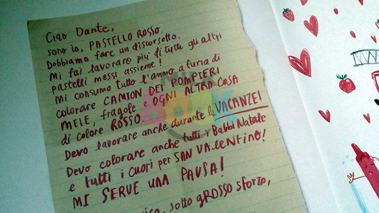 la lettera del pastello rosso