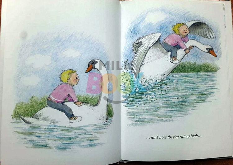Il bambino vola sul cigno