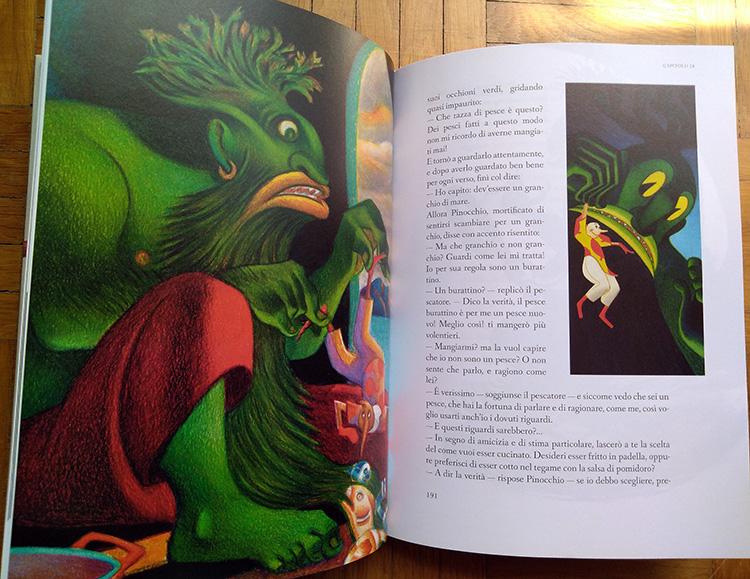 Pagine interne di Pinocchio illustrato da Mattotti