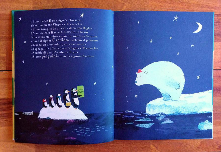 i pinguini incontrano l'orso bianco