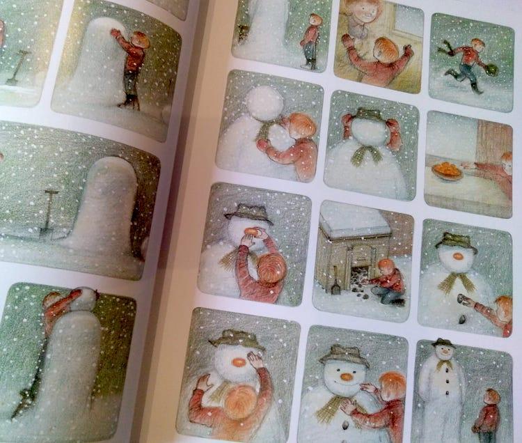 Il bambino crea il pupazzo di neve