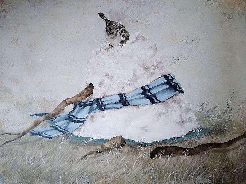 pupazzo e uccellino
