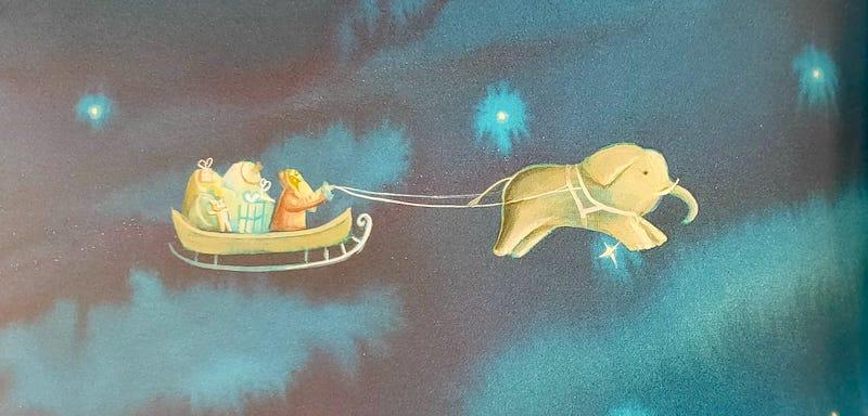Babbo Natale sul'elefante  volante