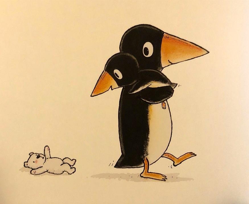 I due pinguini si abbracciano