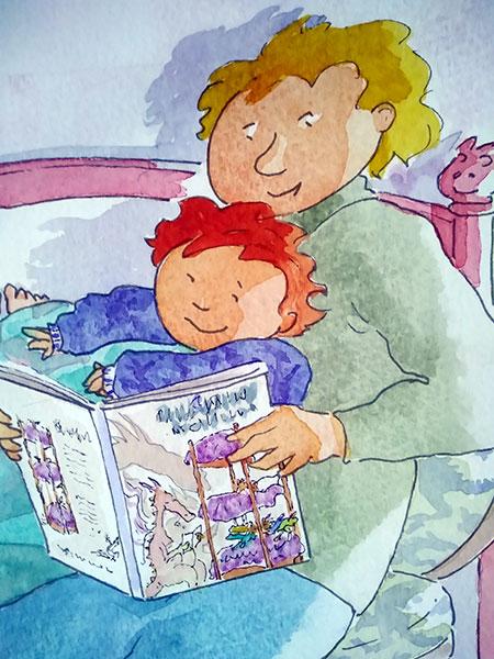 Il papà legge al suo bambino
