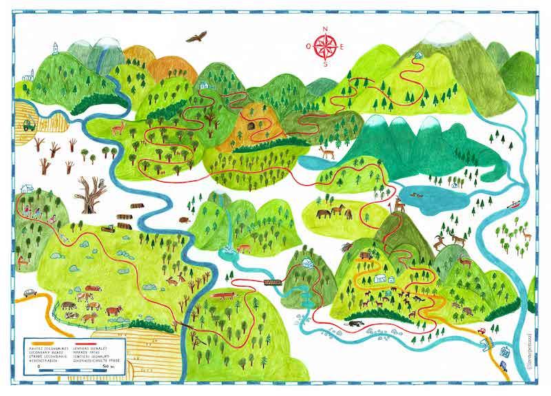 la mappa di Su e giù per le montagne